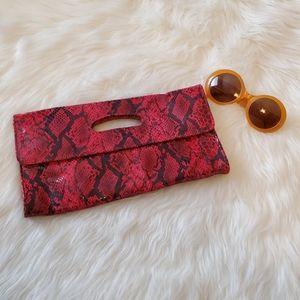 Hobo International Red Snakeskin Foldover Clutch